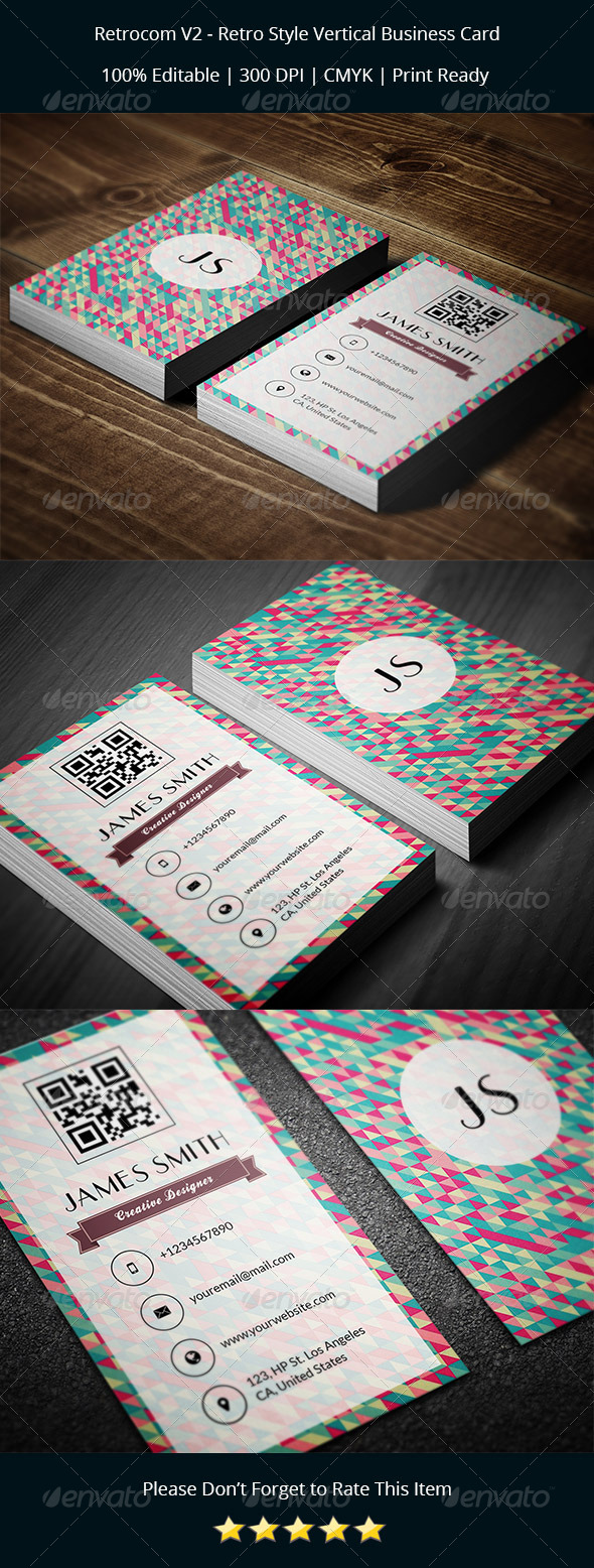 GraphicRiver Retrocom V2 Retro Style Vertical Business Card 8252386