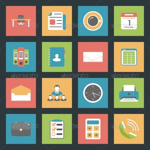 GraphicRiver Office Flat Icons Set 8271938
