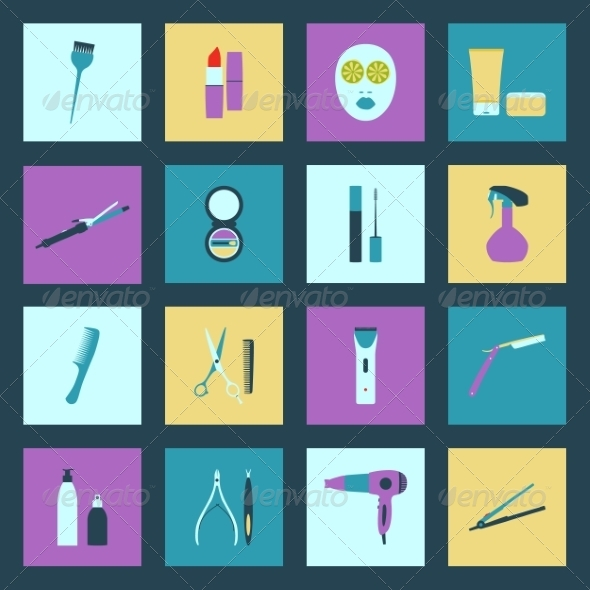 Beauty Salon Flat Icons Set