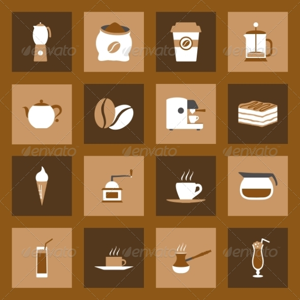 GraphicRiver Coffee Flat Icons Set 8271981