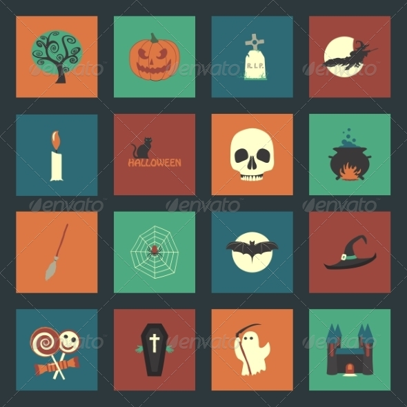 GraphicRiver Halloween Flat Icons Set 8271982