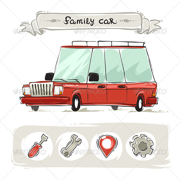 GraphicRiver Cartoon Family Old Car Set 8251086