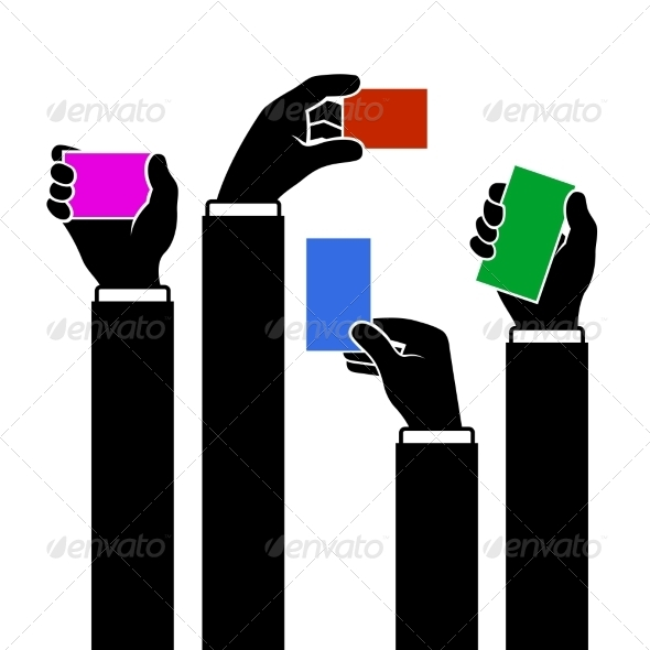 GraphicRiver Hands Holding Blank Business Card Vector 8272085