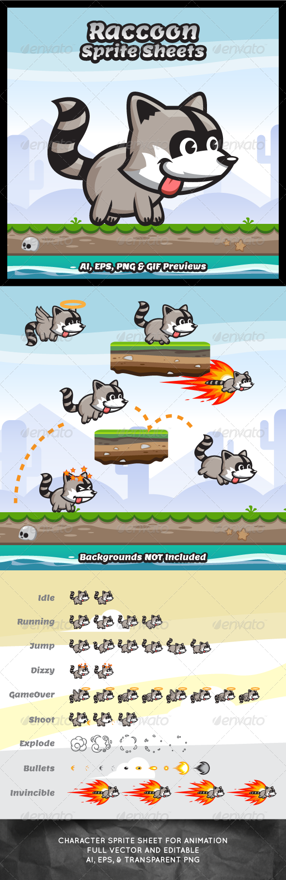 GraphicRiver Raccoon Game Character Sprite Sheets 8272174