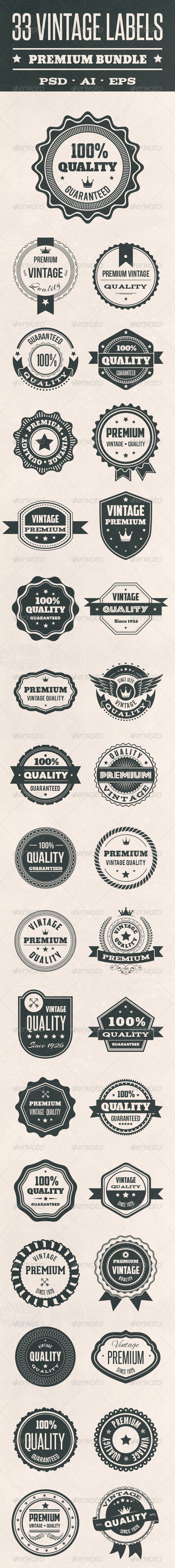 GraphicRiver 33 Vintage Labels 8245969