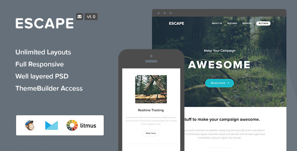 ThemeForest Escape Responsive Email & Themebuilder Access 8273639