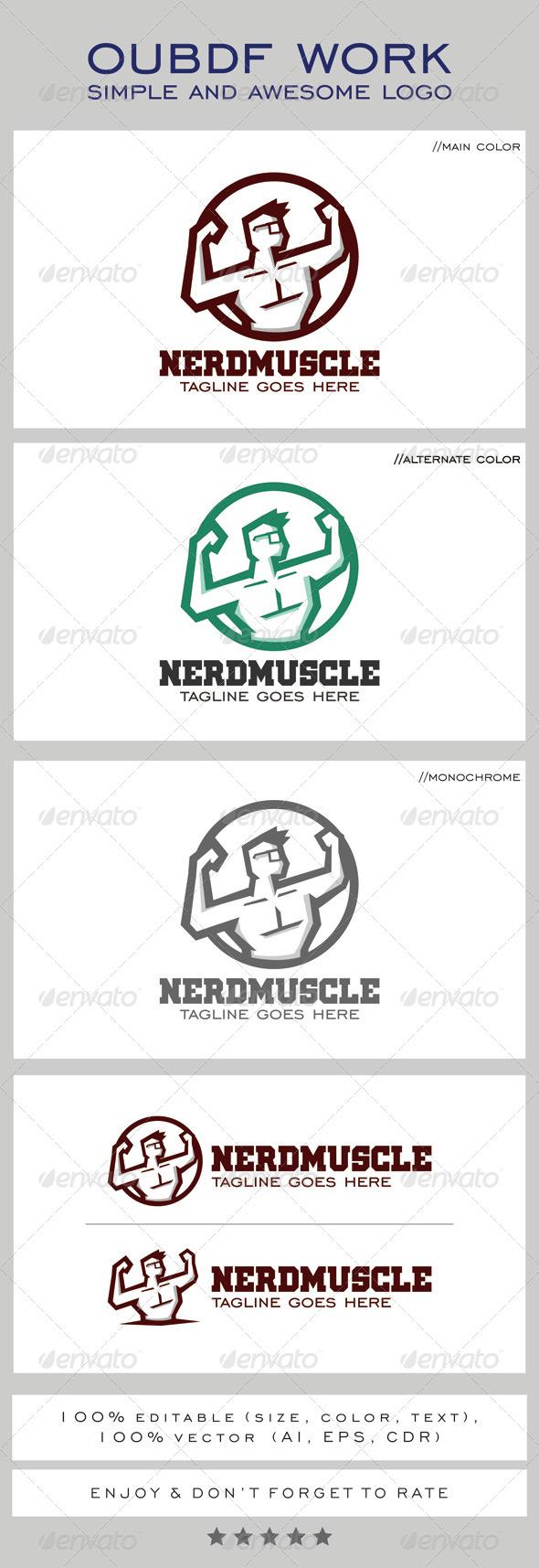 GraphicRiver Nerd Muscle Logo Mascot 8274129