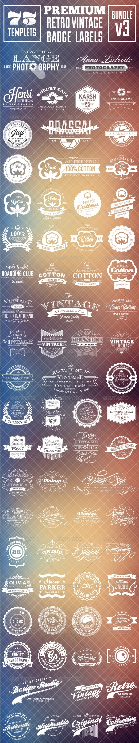 GraphicRiver Premium Retro Vintage Badge Labels Bundle v3 8274395
