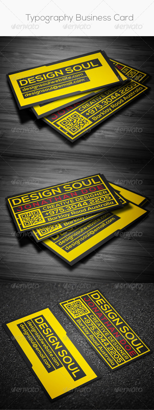 GraphicRiver Typography Business Card 8275184