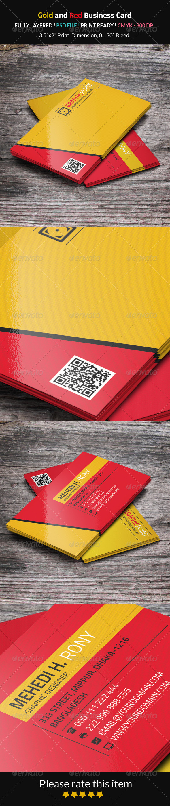 GraphicRiver Gold and Red Business Card 8275269