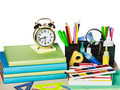 alarm clocks and school supplies isolated - PhotoDune Item for Sale