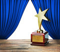 star award and blue curtains with space for text - PhotoDune Item for Sale