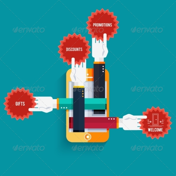 GraphicRiver Smartphone with Hands Holding Stickers with Text 8275652