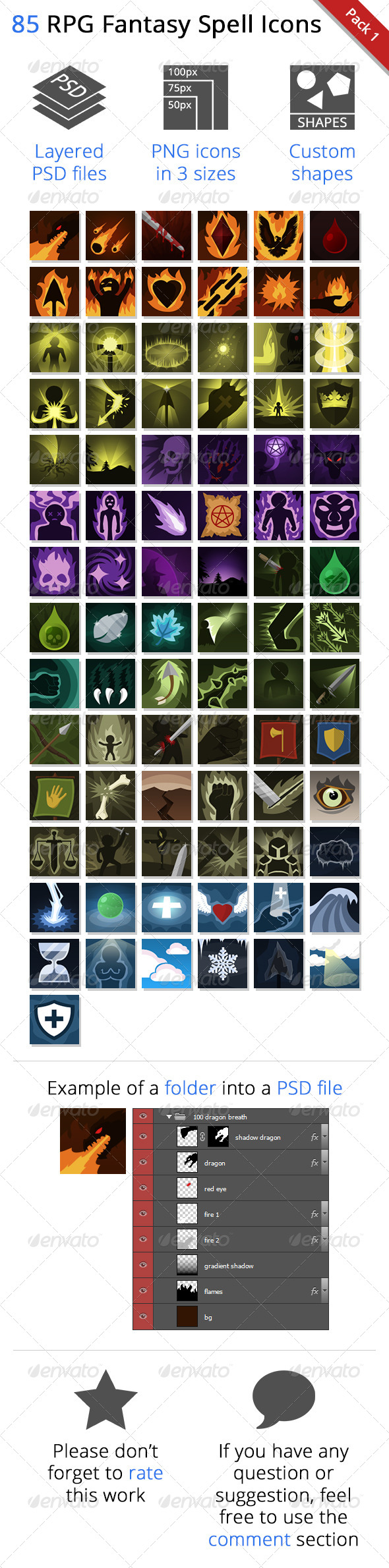 85 RPG Fantasy Spells Icons - Miscellaneous Game Assets