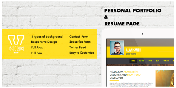 ThemeForest V-king Personal Portfolio & Resume Page 8275800