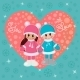Girl and Boy Holding Hands in Winter Clothes - GraphicRiver Item for Sale
