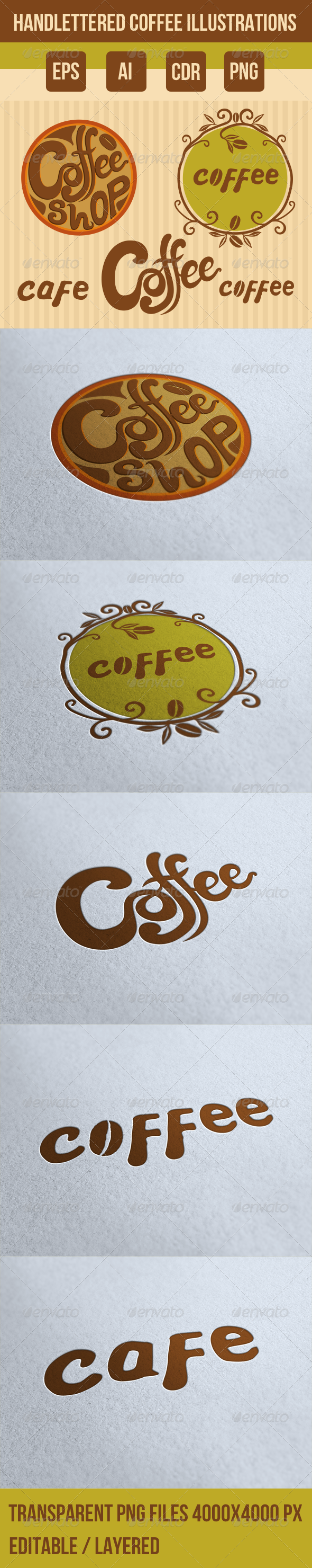 GraphicRiver 5 Handlettered Coffee Illustrations 8020447