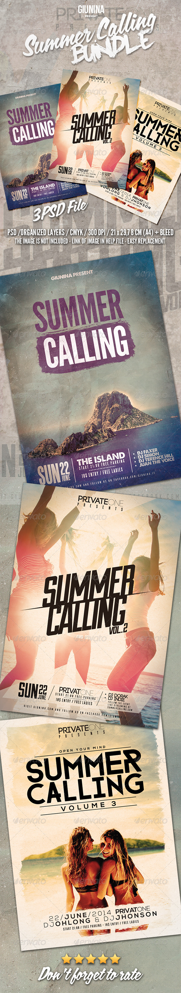 GraphicRiver Summer Calling Flyer Poster Bundle Vol.1-3 8276291