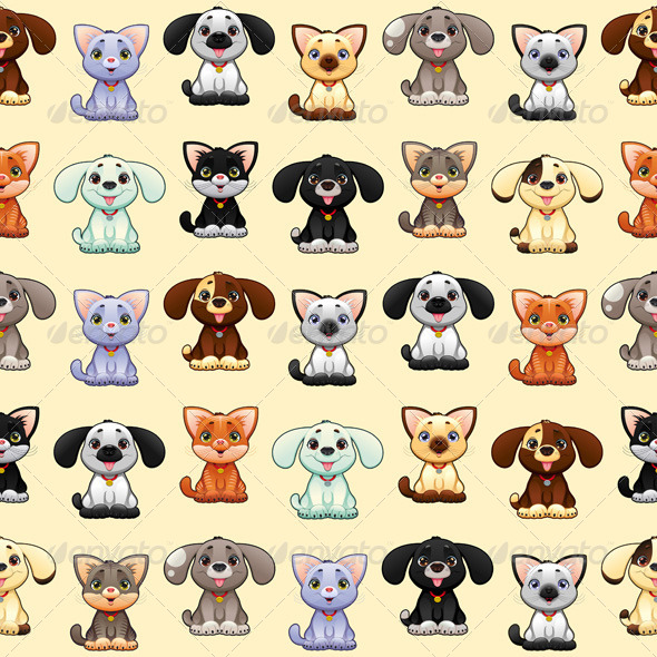 GraphicRiver Cats and Dogs Background 8276335