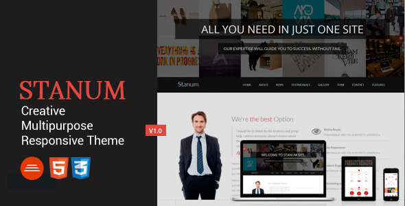 ThemeForest Stanum Responsive Creative Bootstrap Template 7772357