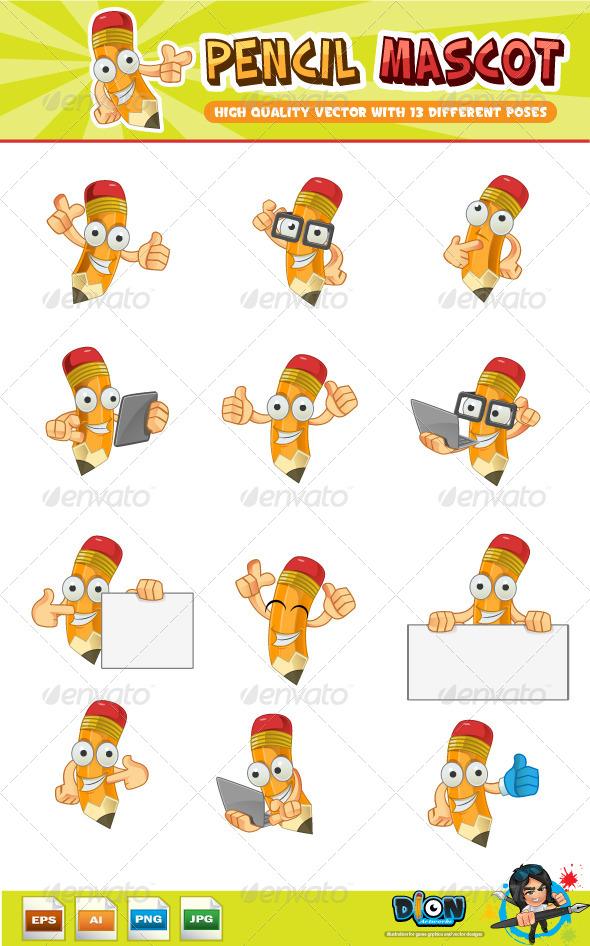 GraphicRiver Pencil Mascot 8248501