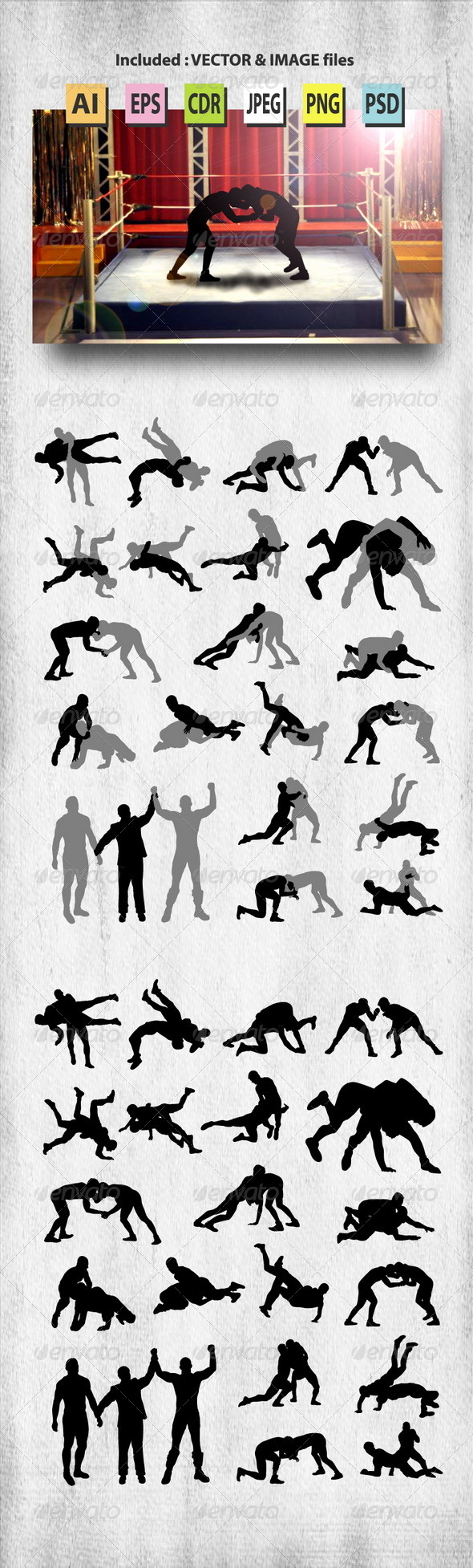 GraphicRiver Wrestling Silhouettes 8278952