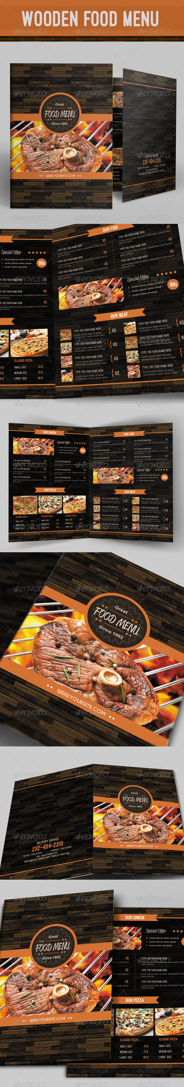 GraphicRiver Wooden Food Menu 8278961