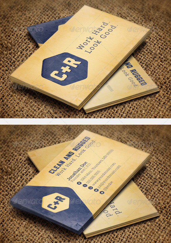 GraphicRiver Clean Rugged Business Cards 8279010