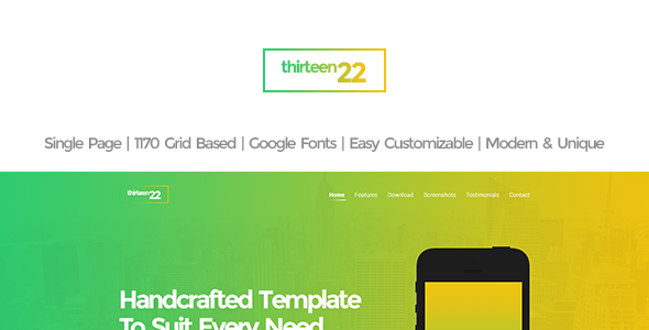 Thirteen22 is a one page app landing PSD template. The PSD is designed in 1170 grid system and can be easily converted to responsive HTML, WP and others Templat
