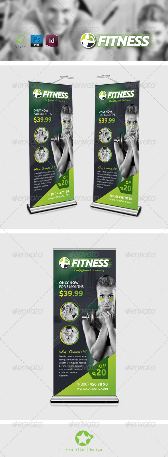GraphicRiver Fitness Salon Roll-Up Templates 8279361