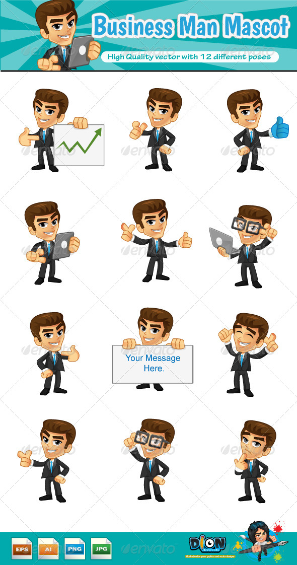 GraphicRiver Business Man Mascot 8279671