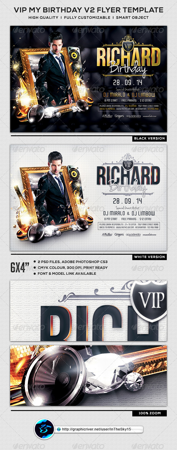 GraphicRiver VIP My Birthday V2 Flyer Template 8280828