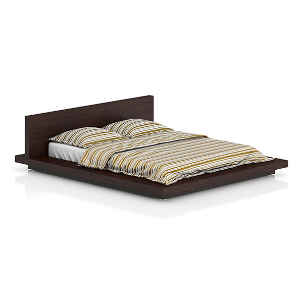 Wooden Bed with Stripped Bedclothes - 3DOcean Item for Sale