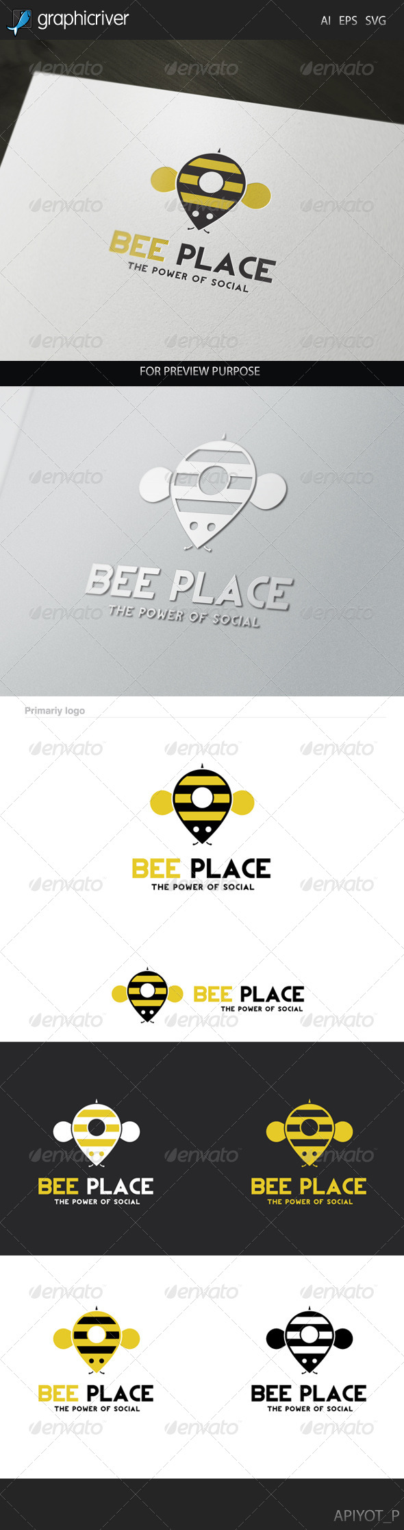 GraphicRiver Bee Place Logo 8281058