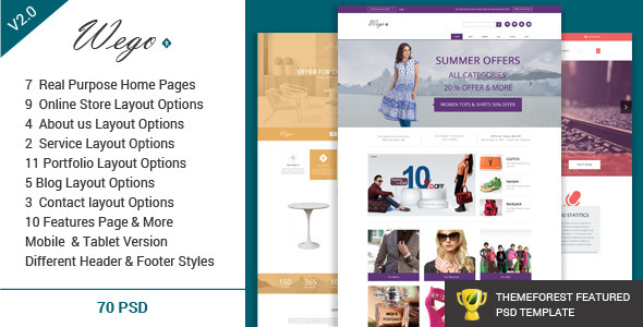 Wego - Multi-Purpose PSD Template - Business Corporate
