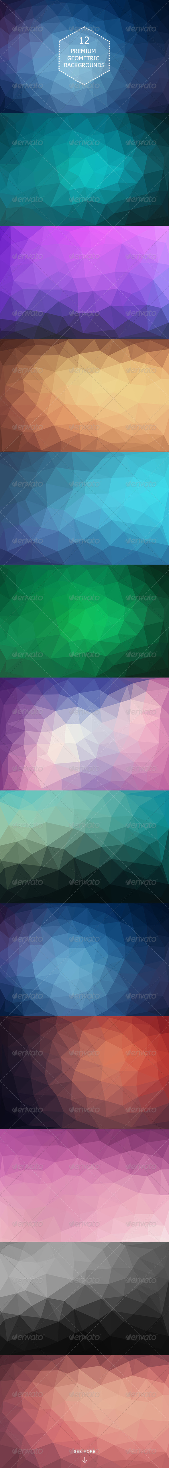 12 Modern Geometric Polygonal Backgrounds
