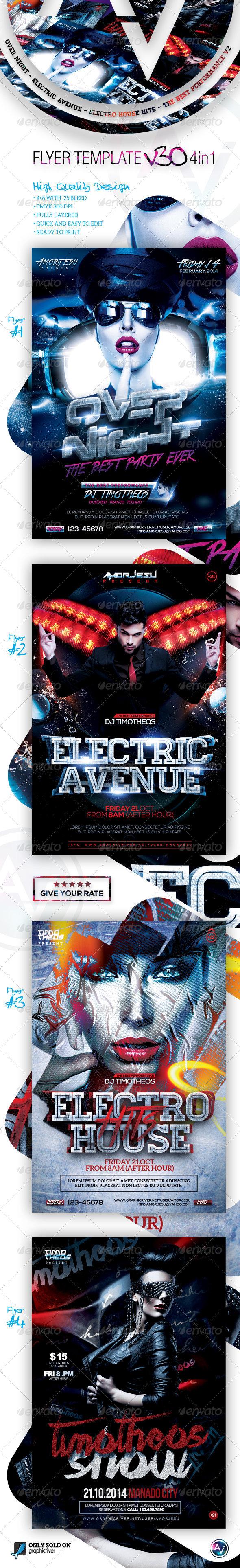 Flyer Bundle Vol30 - 4 in 1 - Clubs & Parties Events
