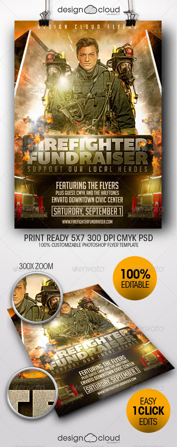 GraphicRiver Fire Fighter Fundraiser Event Flyer Template 8235116