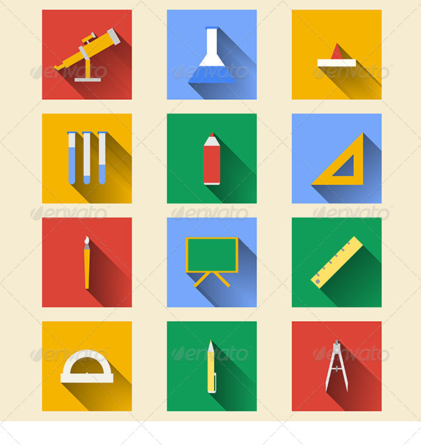 GraphicRiver School Supplies Flat Icons 8282014