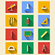 School Supplies Flat Icons - GraphicRiver Item for Sale