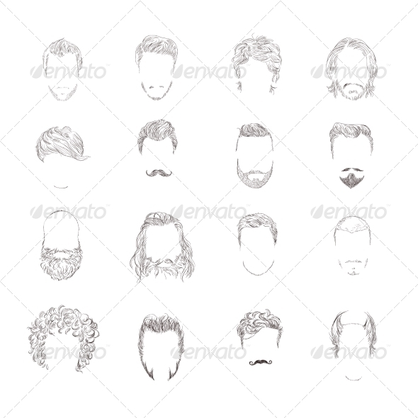 GraphicRiver Man Hair Style Set 8282031