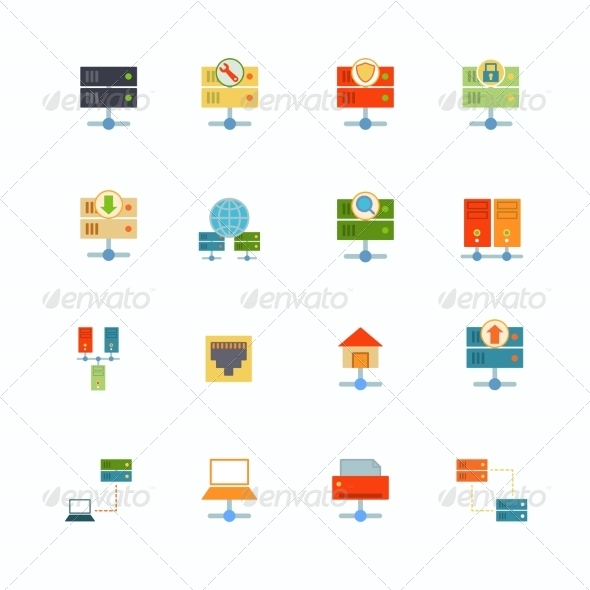 GraphicRiver Hosting Flat Icons 8282043