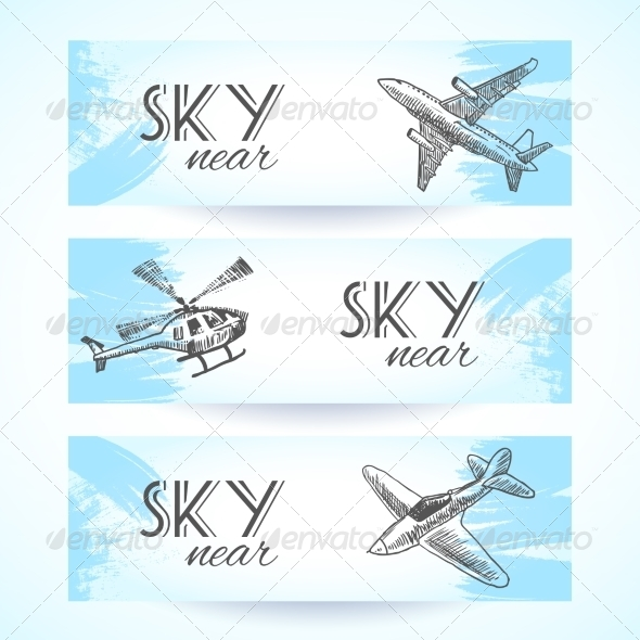 GraphicRiver Aircraft Icon Banners Sketch 8282064