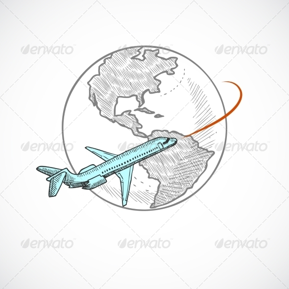 GraphicRiver Aircraft and Globe Icon 8282067