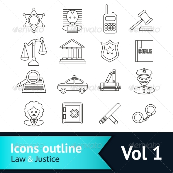 GraphicRiver Law and Justice Icons Set 8282072