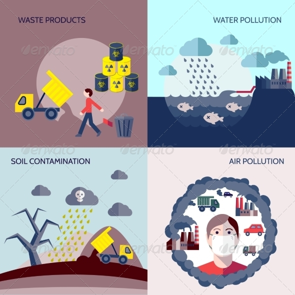 GraphicRiver Pollution Icons Flat Set 8282080