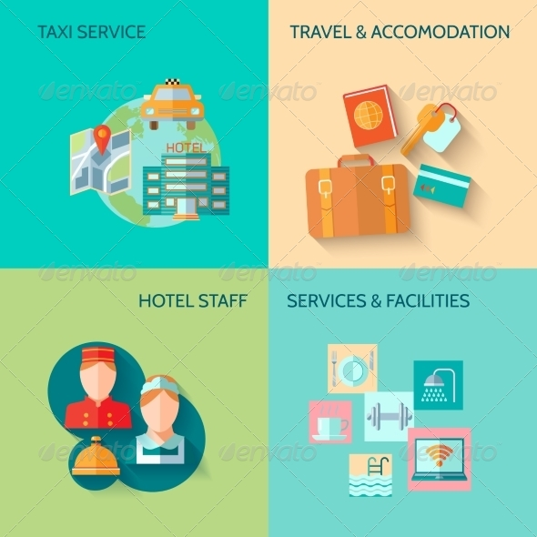 GraphicRiver Hotel Service Composition Set 8282082