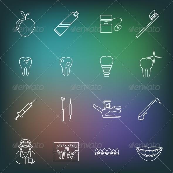GraphicRiver Dental Icons Outline 8282145