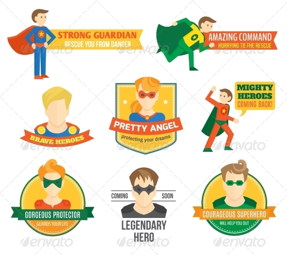 GraphicRiver Superhero Labels 8282154
