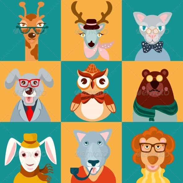 GraphicRiver Animal Hipsters Icons Flat 8282157
